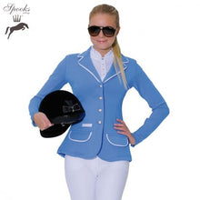 Load image into Gallery viewer, Spooks light blue show jacket ladies size 8 (size S)