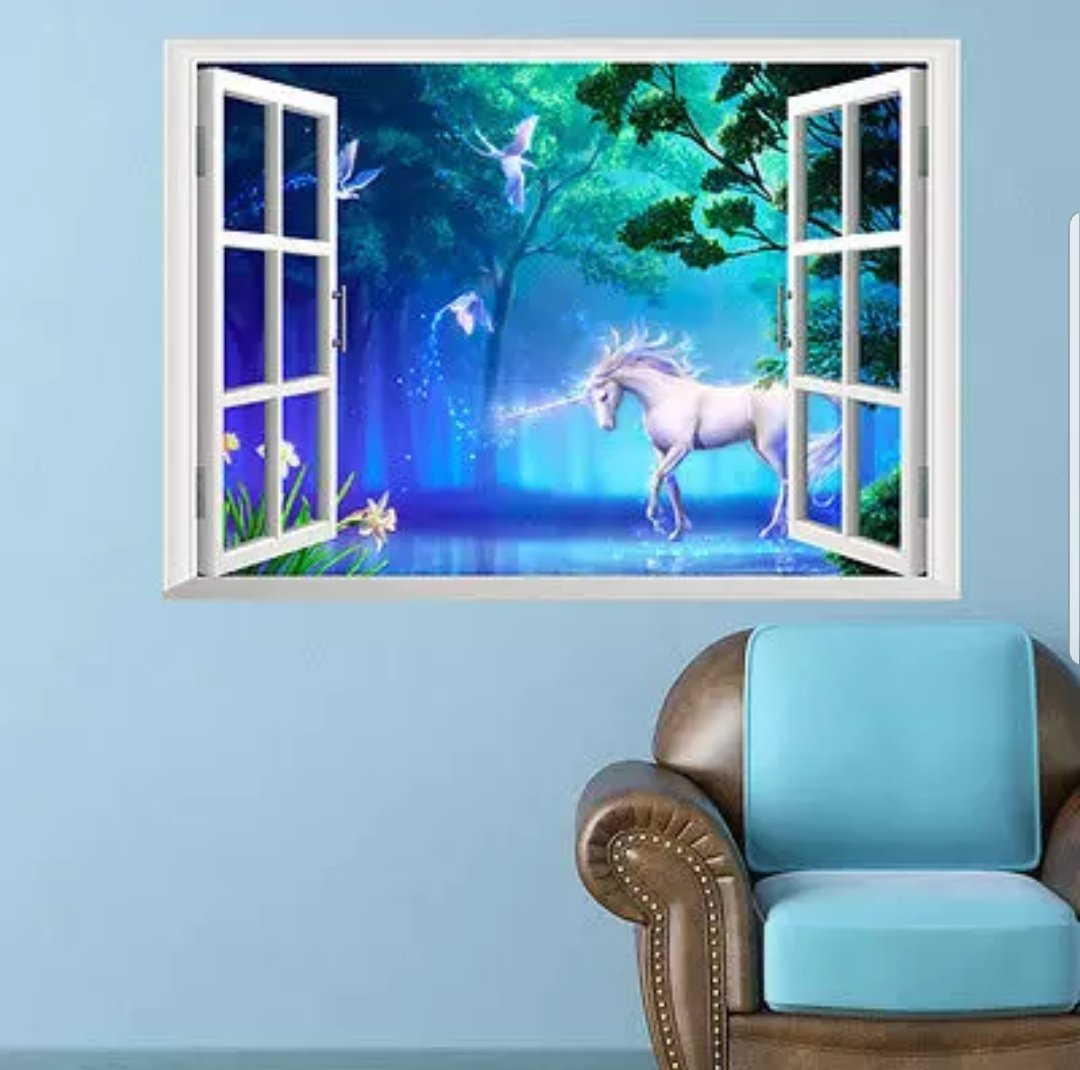 Vinyl Pvc Sticker Wall Art White Horse Fantasy 3d Window Robyn S Tack Room