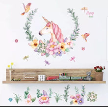 Load image into Gallery viewer, Vinyl PVC sticker wall art 'unicorn in flowers' - Robyn's Tack Room