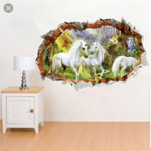 Load image into Gallery viewer, Vinyl PVC sticker wall art '3d unicorns through hole in the wall' - Robyn's Tack Room