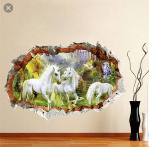 Vinyl PVC sticker wall art '3d unicorns through hole in the wall' - Robyn's Tack Room