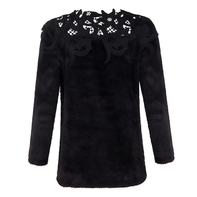 Solid Lace Splice Long Sleeve Plush Sweater