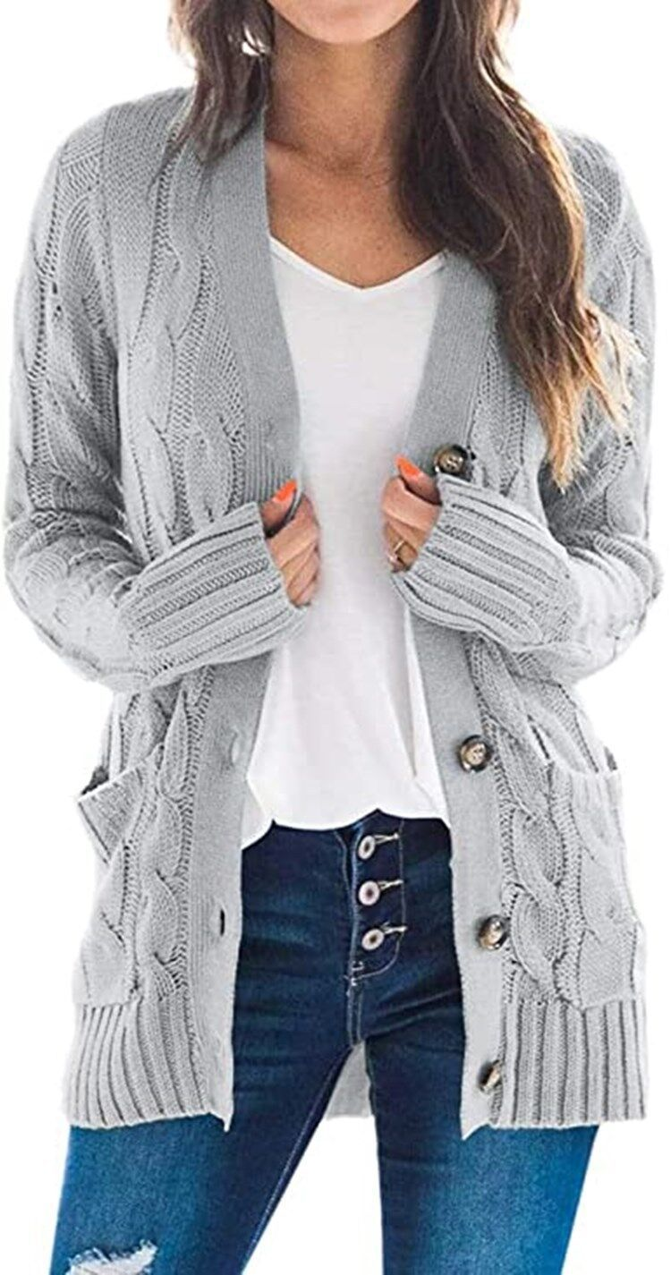 2020 casual cardigan solid color twist button cardigan sweater
