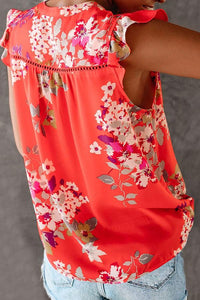 Sleeveless Floral Print V Neck Casual Wear Blouse