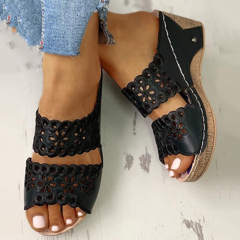 【Last 168 pairs】【Flash Sale💝 75% OFF⭐ Factory Outlet】Women's Wedge Platform Open Toe Hollow Flower Wedge Slipper Sandals