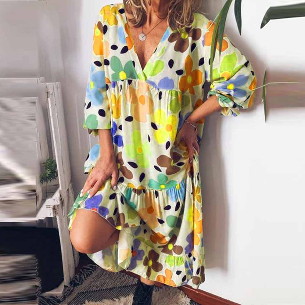 V Neck Long Sleeves Floral Dress