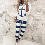 Women's Anchor Print Two Piece Casual Hoodie  + Pants Set