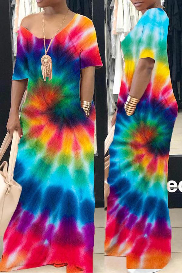 Holiday Promotion🔥Rotating Tie-Dye V-Neck Long Dress