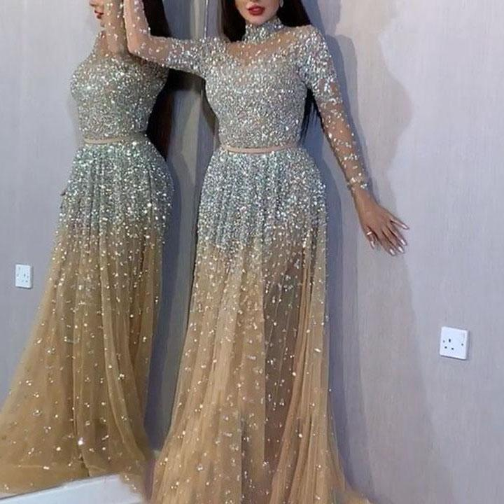 Sexy Bronzing Long Sleeve Prom Party Evening Dress