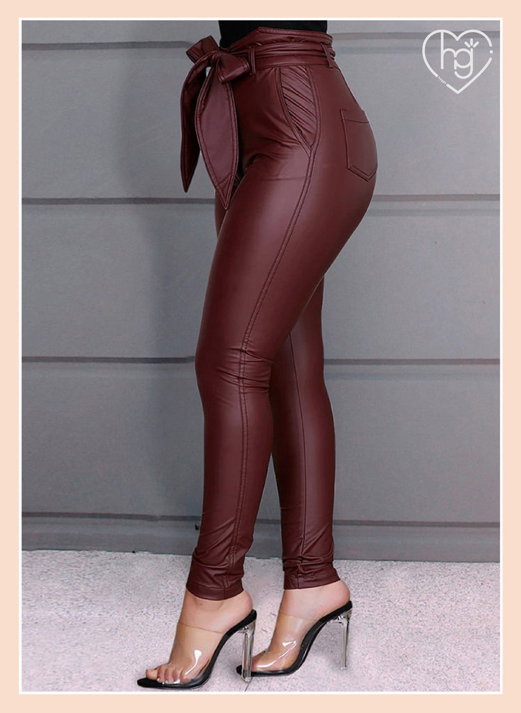 Holiday Promotion🔥High Waist Bow Tied PU Leather Legging Skinny Pants