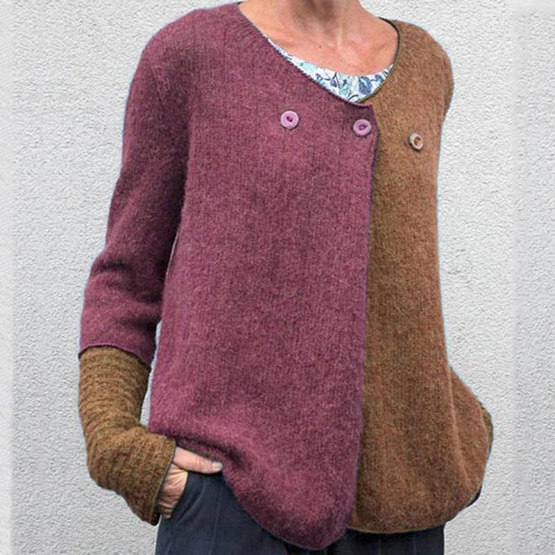 Contrast Color Loose Knit Sweater【Buy 2 Free Shipping】