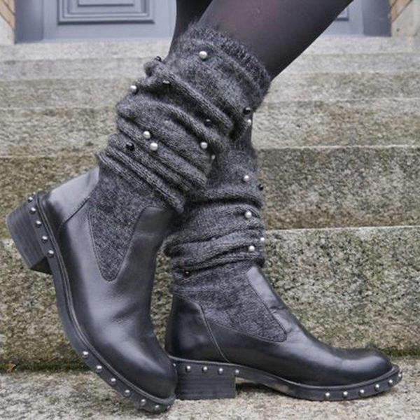 Women Slide Sweater Chunky Heel Imitation Pearl Casual Boots