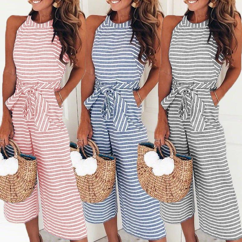 GOTCHA Sleeveless Striped Jumpsuit Loose Trousers Wide Leg Pants Rompers Holiday Belted Leotard Overalls