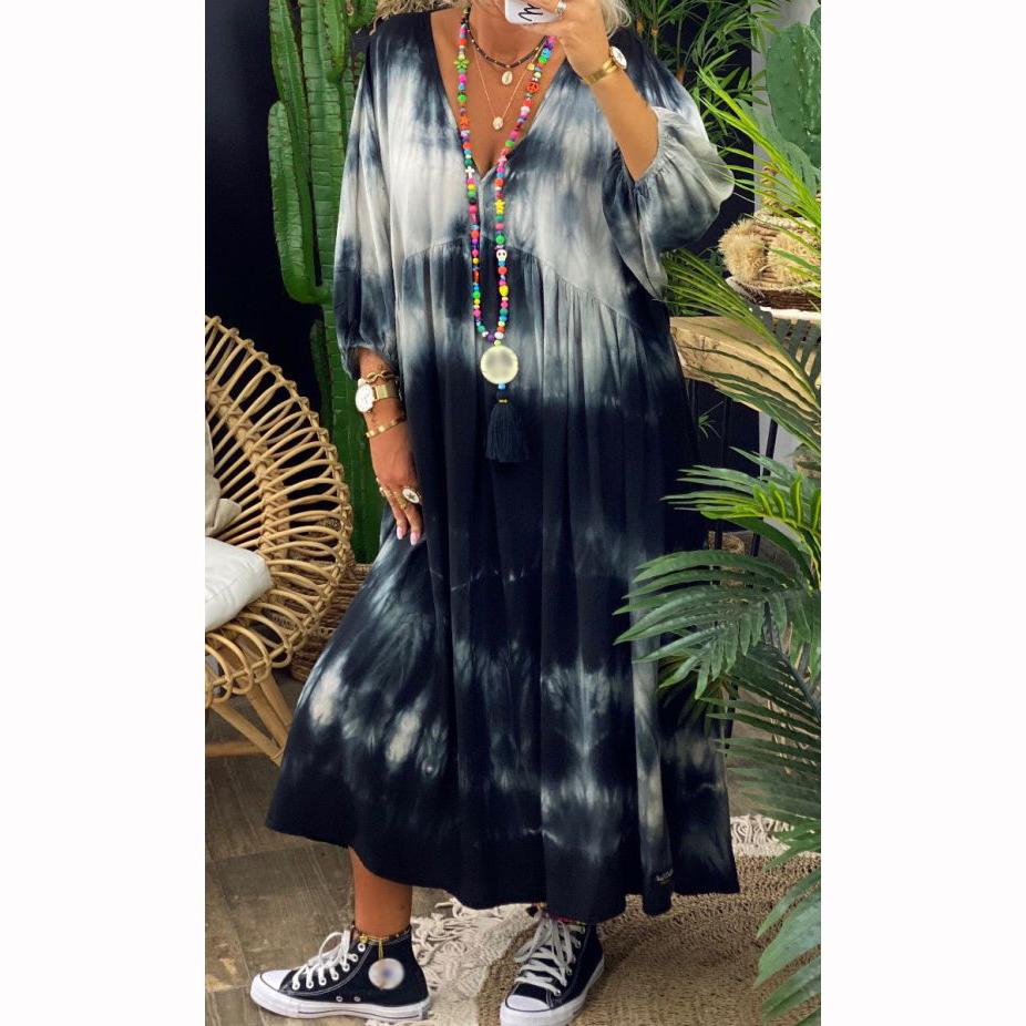 Holiday Promotion🔥V Neck Loose Tie Dye Maxi Dress