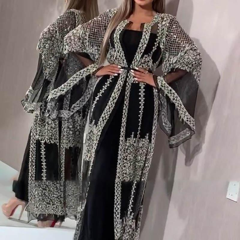 Sequined Cutout Long Sleeve Suit Evening Dress