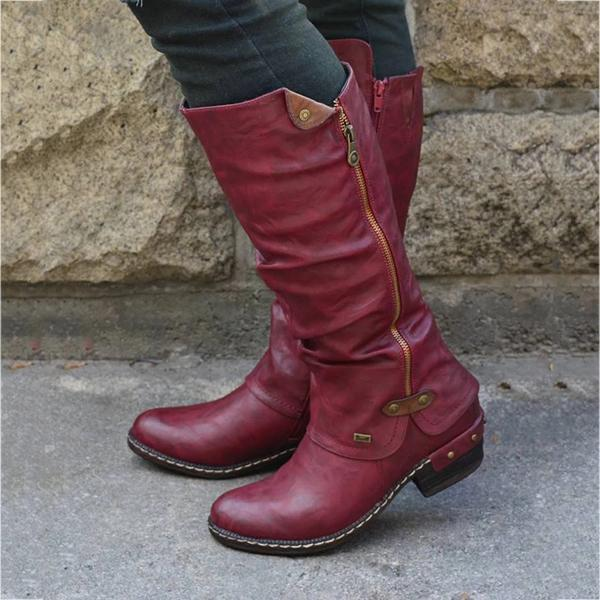 🔥 NEW 🔥 Women's Cowboy Knee High Waterproof Boots ◤80%Off Flash Sale ◢ ♡ Shoes Pretty Little Wish.com Wine Red US4.5 (35)