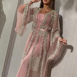 Long Sleeve Sequin Mesh Suit Gown
