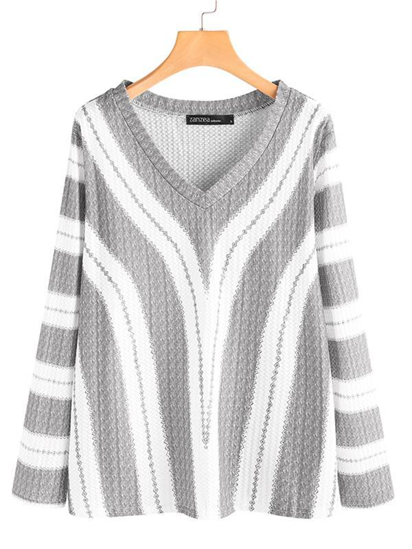 Stripe V-neck Long Sleeve Plus Size Sweater for Women