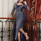 Fashion Sexy Shiny Long Sleeve Asymmetrical Hem Slit Skinny Dress