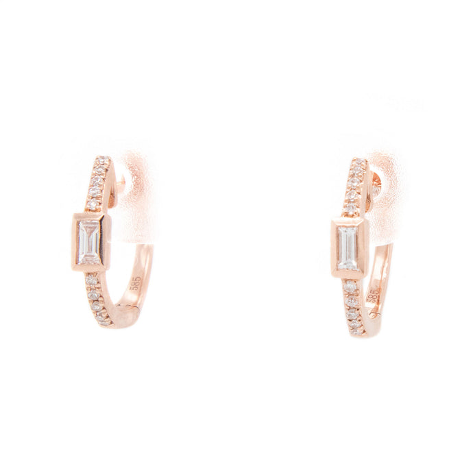 0.15ct 14k rose gold diamond huggy hoops w/ baguette center
