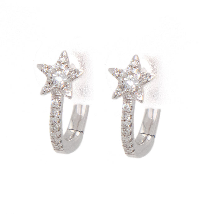 0.22ct 14k white gold diamond star huggy earrings