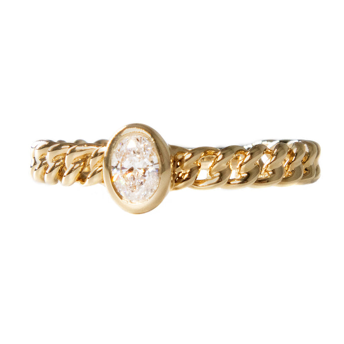 0.23ct 14k yellow gold link ring with oval diamond