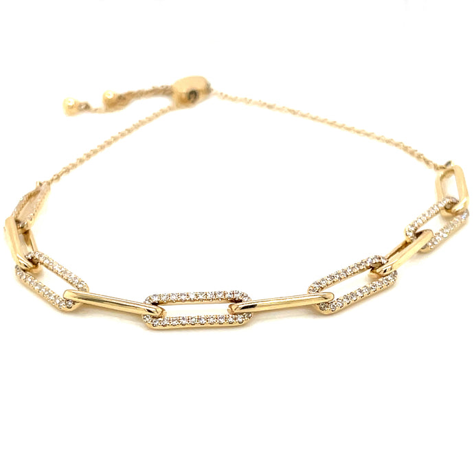 0.40ct 14k yellow gold diamond link bolo bracelet