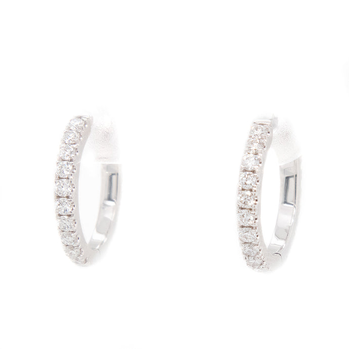 0.60ct 14k white gold diamond hoops diamonds all the way around