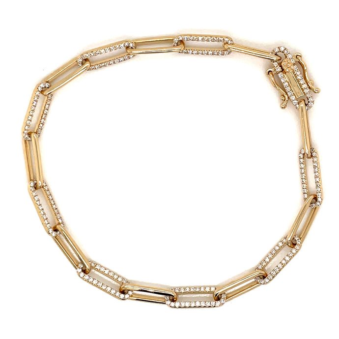 0.74ct 14k yellow gold diamond link bracelet