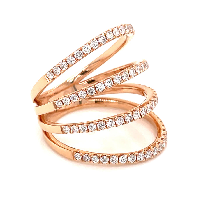 0.77ct 18k rose gold cage diamond ring side view