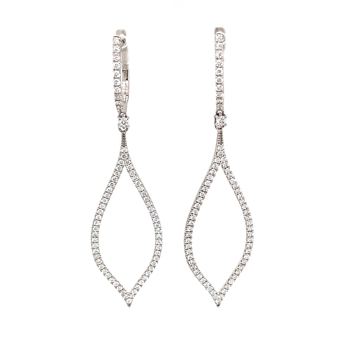 0.77ct 18k white gold diamond drop earrings