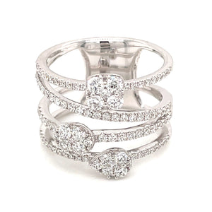 0.98ct 18k white gold 3 tier caged diamond ring