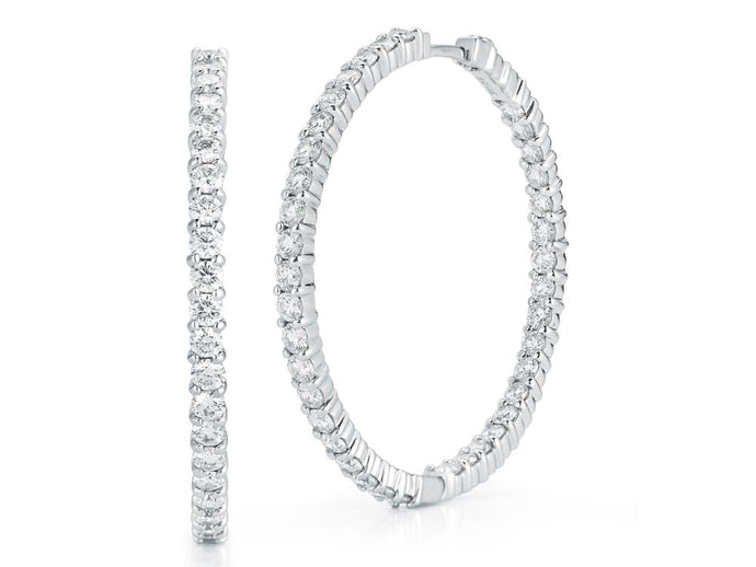 Roberto Coin Large Inside Outside Diamond Hoops