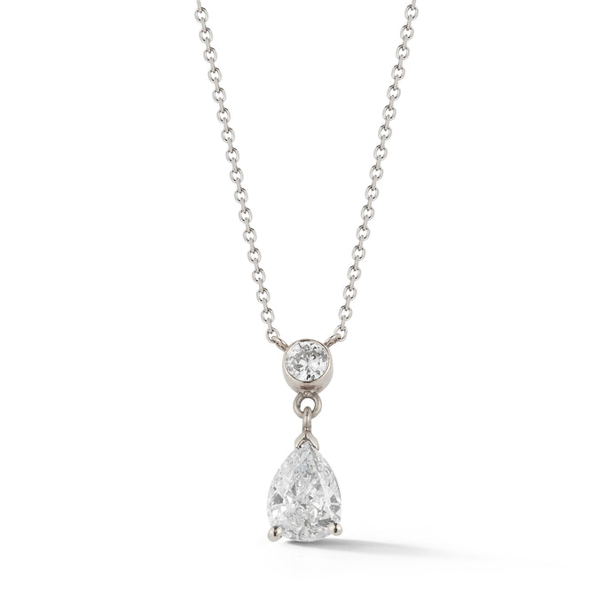 Estate Platinum Pear Diamond Drop Pendant- .97ct D/SI1