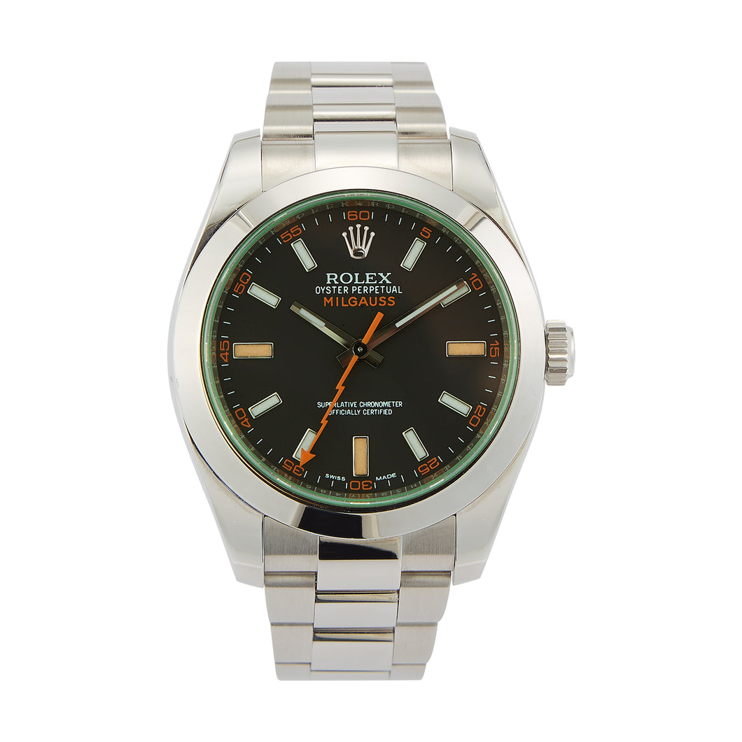 Stainless Steel Rolex Milgauss with a Green Crystal - model 116400V