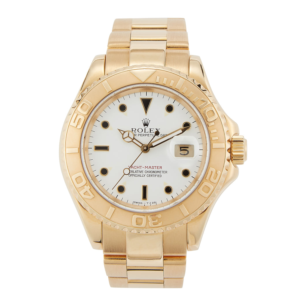 Pre-Owned 18k Gold 40mm Rolex Yachtmaster - White dial - Model 16628