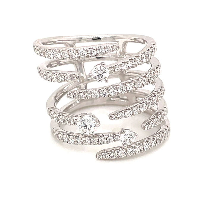 1.03ct 18k white gold diamond cage ring