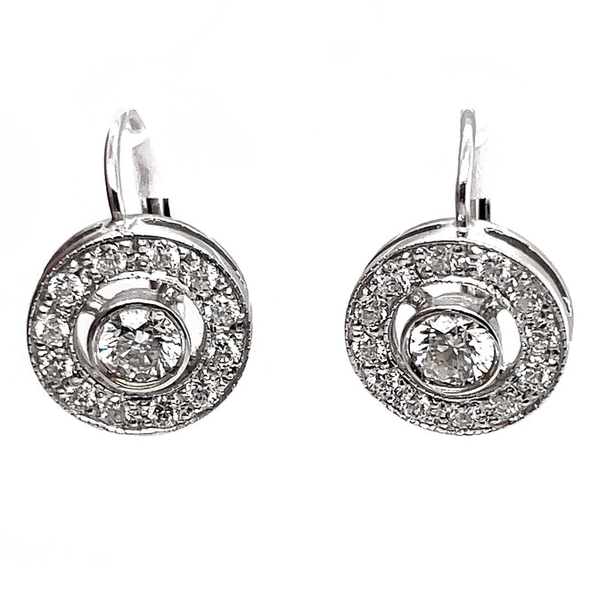 1.18ct 18k White Gold Circle Drop Earrings