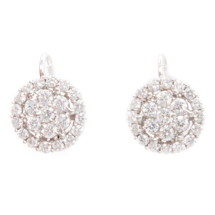 1.24ct 18k white gold diamond circle cluster earrings