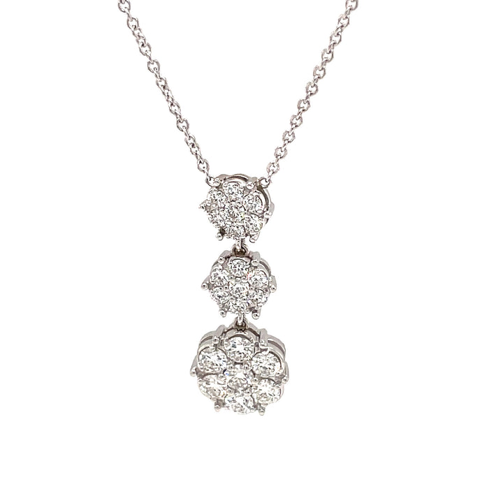 1.45ct 18k white gold diamond cluster drop necklace