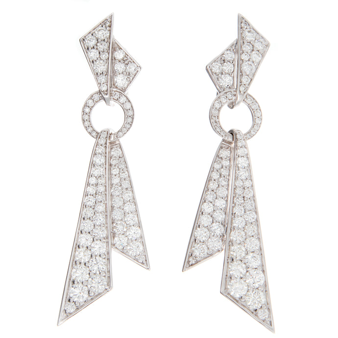 1.64ct 18k white gold art deco diamond earrings
