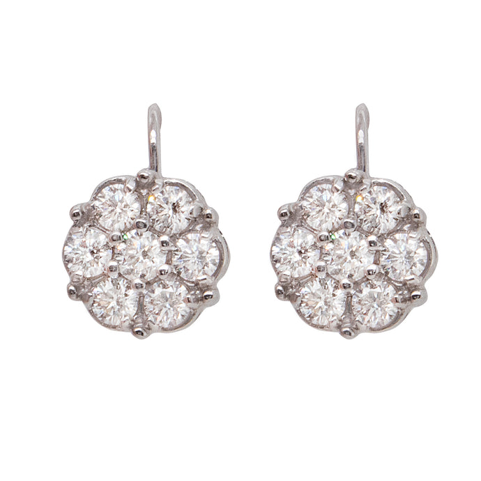 1.80ct 18k white gold diamond flower drop earring