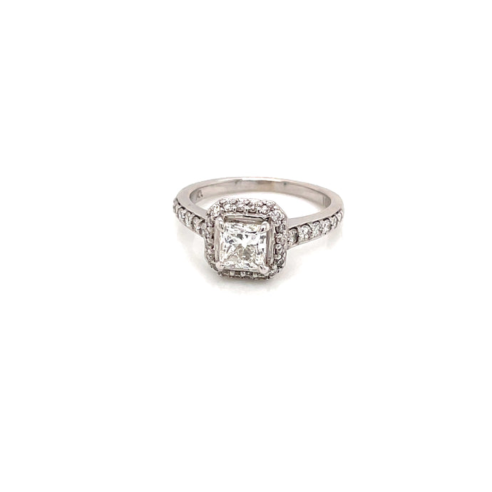 1.05ct Princes Cut 18k White Gold Diamond Halo Engagement Ring