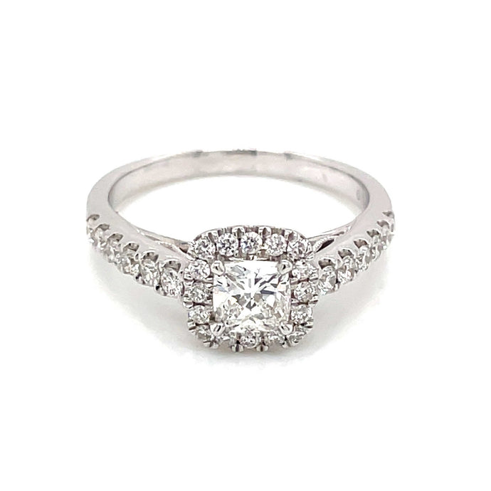 .97ct Cushion Cut 14k White Gold Halo Engagement Ring