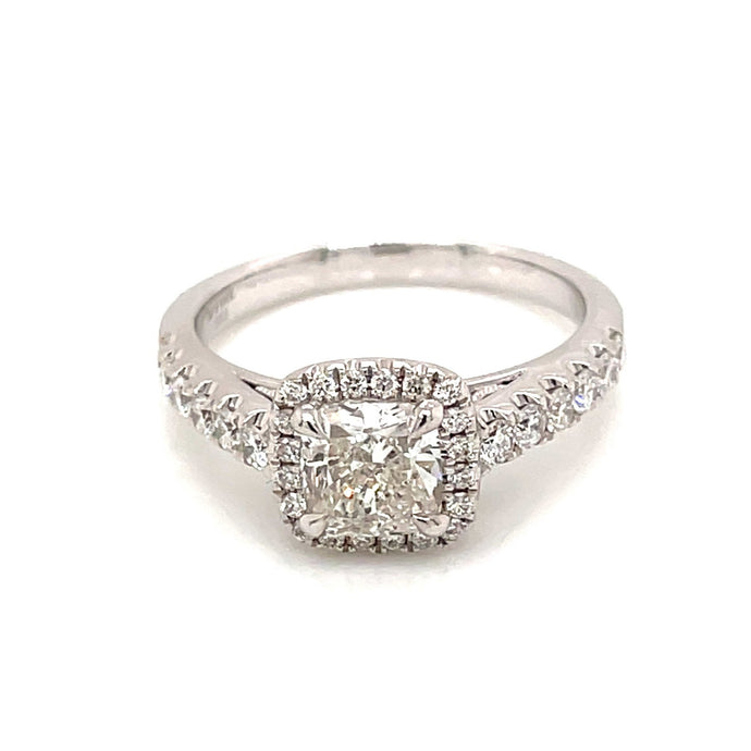 1.52ct Cushion Cut 14k White Gold Engagement Ring