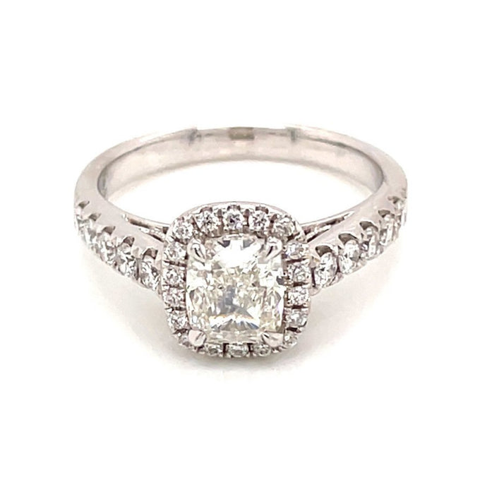 1.54ct Cushion Cut 18k White Gold Halo Engagement Ring