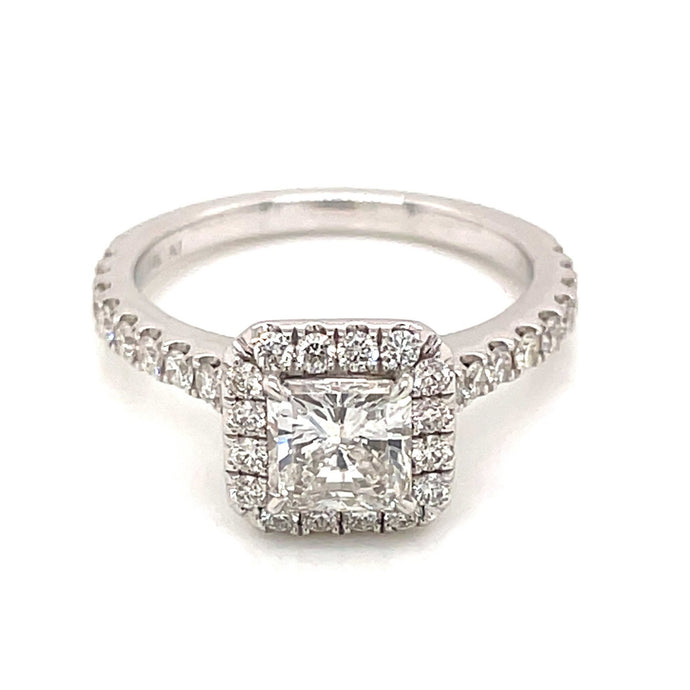 .97ct Radiant Cut 14k White Gold Halo Engagement Ring