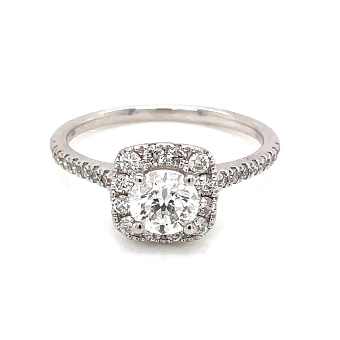 3/4ct Brilliant Cut 14k White Gold Halo Engagement Ring