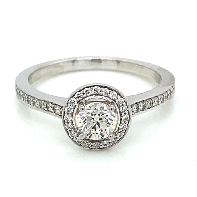 .93ct Round Brilliant Cut 14k White Gold Engagement Ring