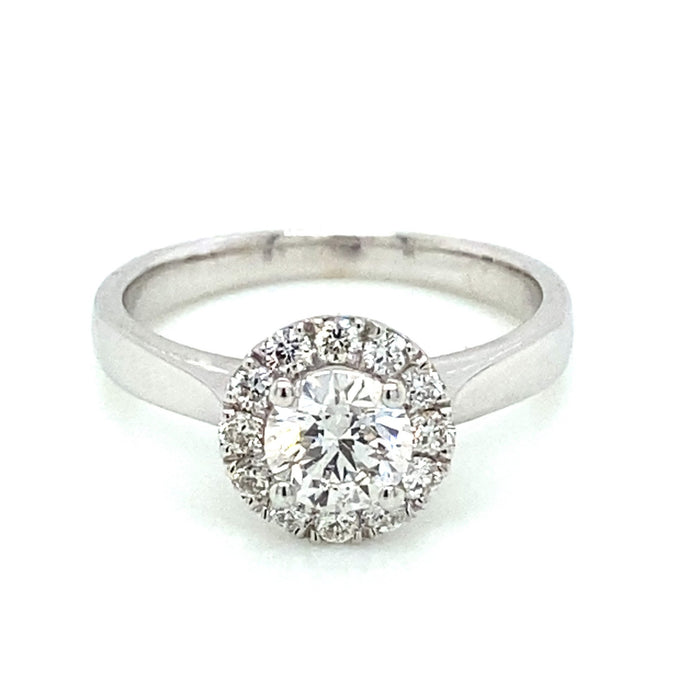 .72ct Brilliant Cut 14k White Gold Solitaire Halo Engagement Ring